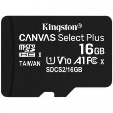 Kingston 16GB micSDHC Canvas Select Plus 100R A1 C10 Single Pack w/o ADP EAN: 740617298635 *NOVO*
