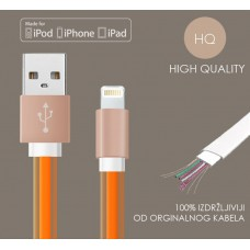 iPhone USB flat kabel, silikonski - HQ