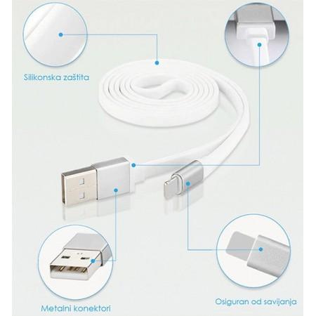 MicroUSB flat kabel, silikonski - HQ